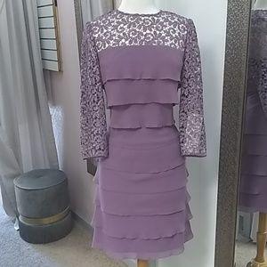 Alex Evening's// Purple Lace Long Sleeve Formal